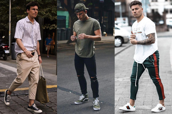 Summer men's looks with sneakers and cotton pants