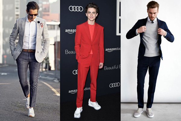 Men in business suits and sneakers.