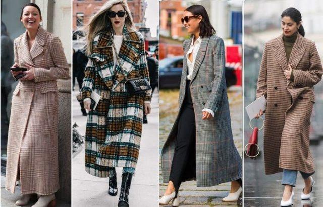 Клетчатое пальто длинное
