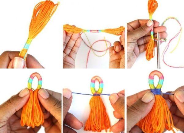 сережки из нитей