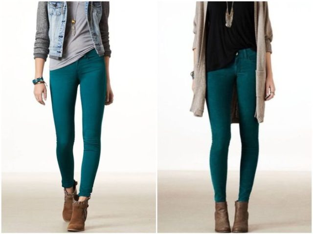 сине-зелёные женские брюки