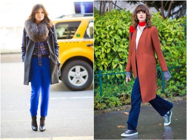 Синие штаны с пальто и кейпом