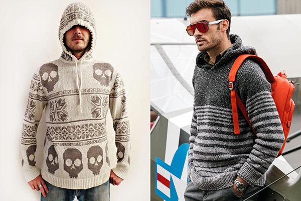 Вязаные мужские свитера с капюшонами