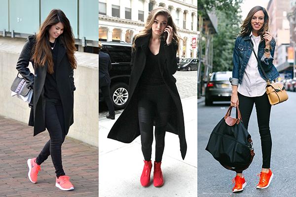 Женские образы с красными кроссовками и черными скинни