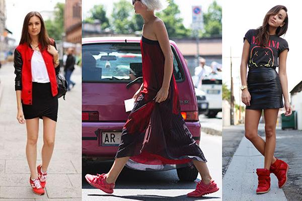 Юбки с красными кроссовками в женских образах