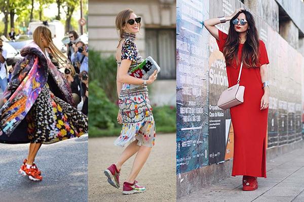 Летние платья с красными кроссовками