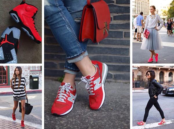 Красные кроссовки в повседневных образах