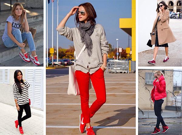 Красные кроссовки в casual образах