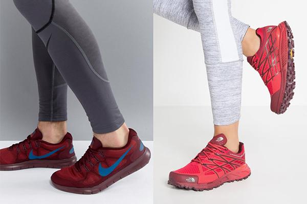 Серые легинсы с красными кроссовками