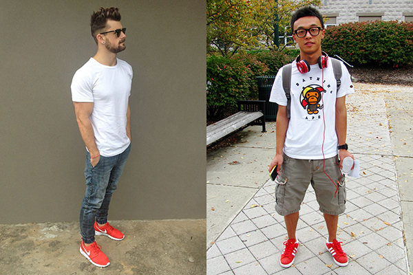 Летние образы с красными кроссовками для мужчин