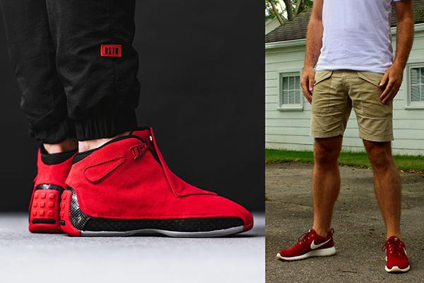 Красные кроссовки в мужских образах