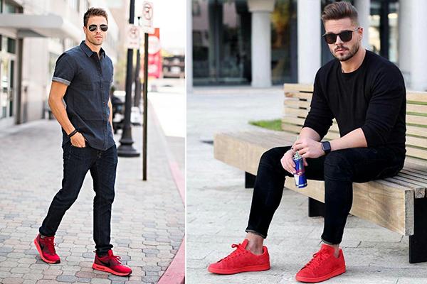 Красные мужские кроссовки с одеждой casual стиля
