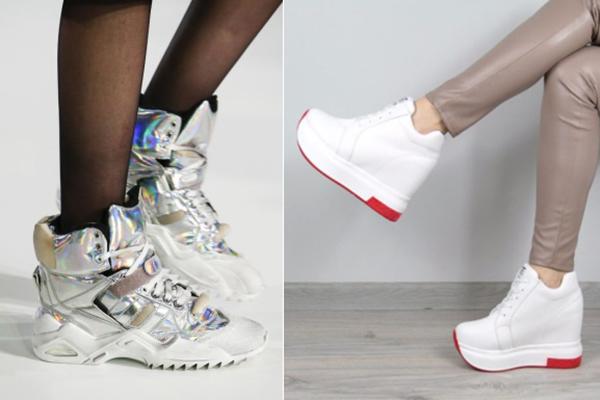 Высокие женские кроссовки с подъемом