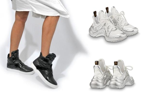 Черные и серебристые высокие женские кроссовки
