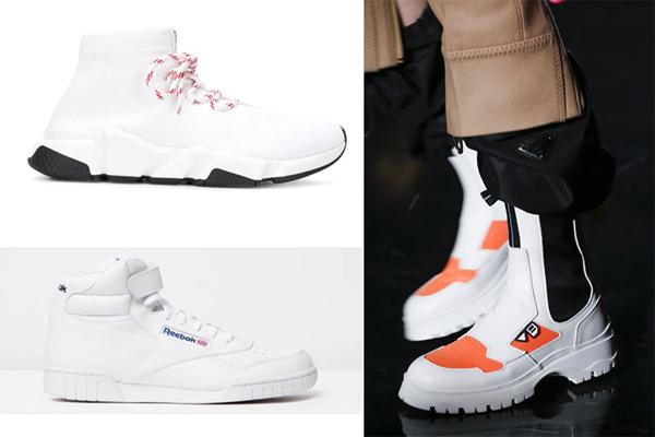 Высокие белые кроссовки с цветными вставками
