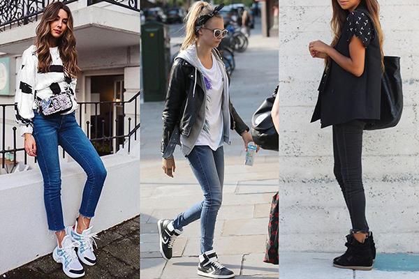 Высокие женские кроссовки с джинсами скинни