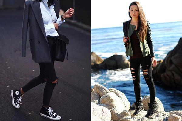 Женские образы с пиджаками и высокими кроссовками