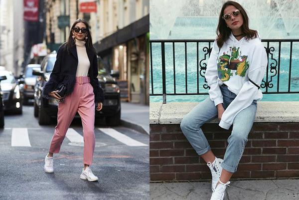 Высокие женские кроссовки с брюками-бананами и укороченными джинсами