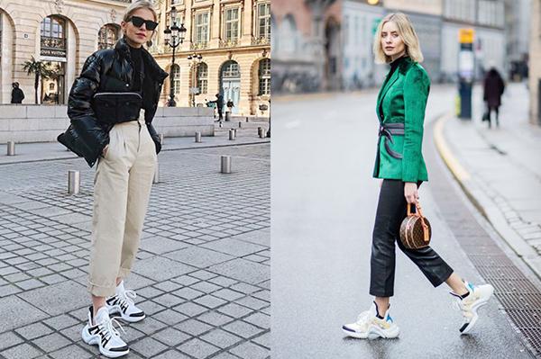 Высокие женские кроссовки с укороченными хлопковыми брюками