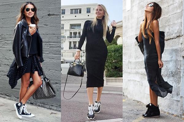 Женские образы с платьями и высокими кроссовками