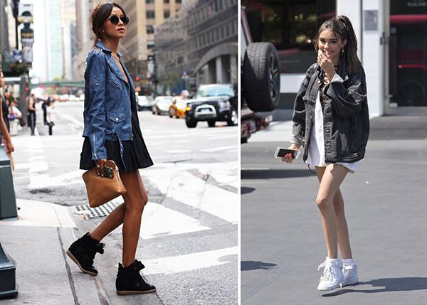 Женщины в высоких кроссовках и объемных куртках