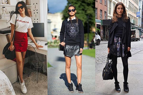 Образы с мини-юбками и высокими кроссовками