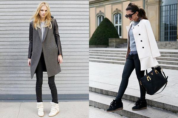 Женские образы с пальто и высокими кроссовками