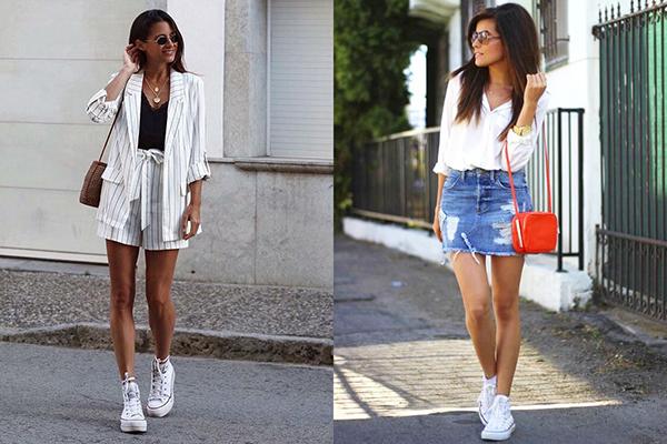 Белые высокие кроссовки с одеждой делового стиля