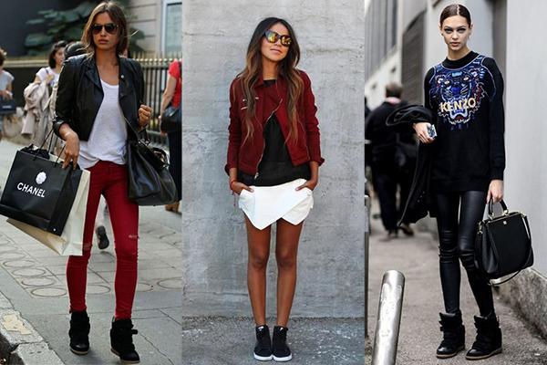 Женщины в черных высоких кроссовках