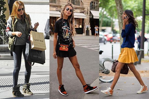 Женщины в разноцветных высоких кроссовках