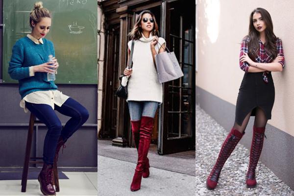 Девушки в бордовой обуви