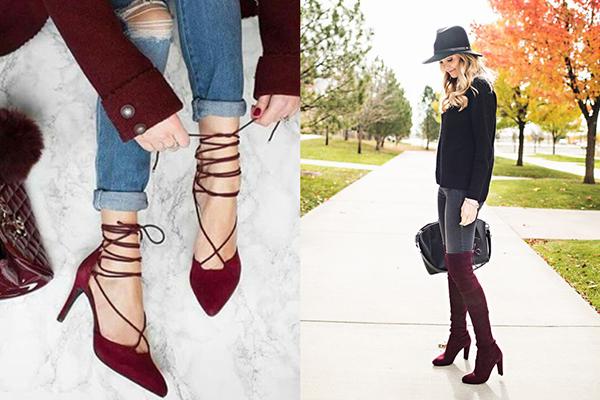 Женская обувь бордового цвета
