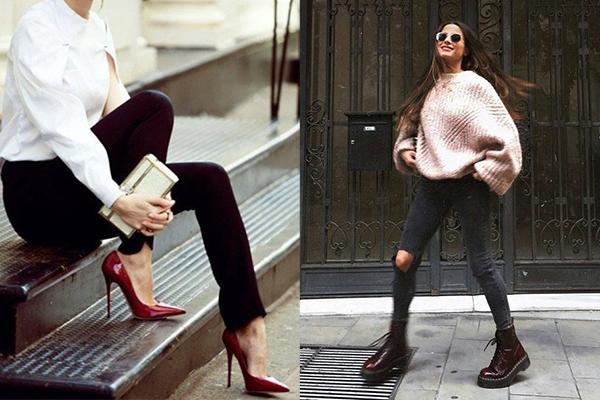 Бордовые туфли и ботинки