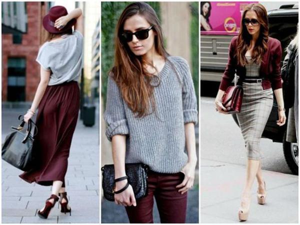 Бордовая обувь с серой одеждой