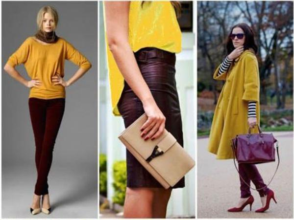 Бордовая обувь с желтой одеждой