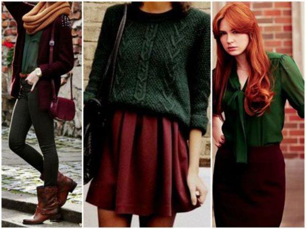 Бордовая обувь с зеленой одеждой