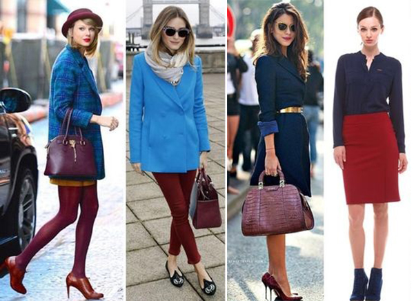 Бордовая обувь с синей одеждой