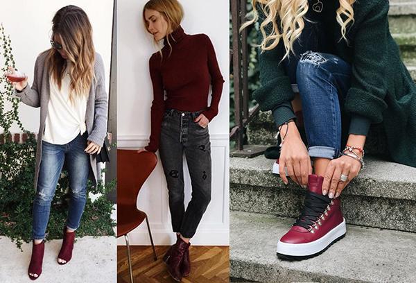 Бордовая обувь с джинсами