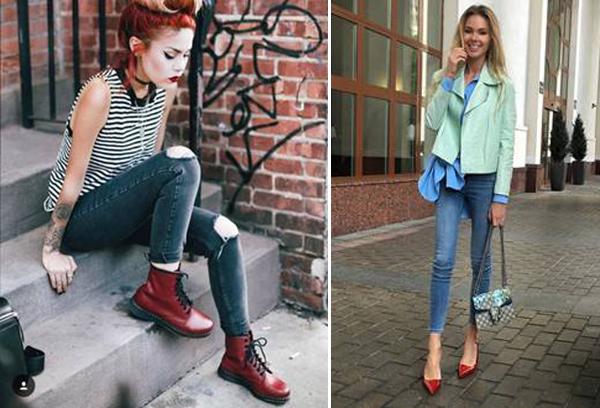 Женские образы с джинсами и бордовой обувью