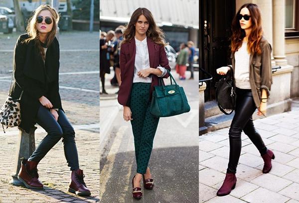 Женская бордовая обувь в демисезонных образах