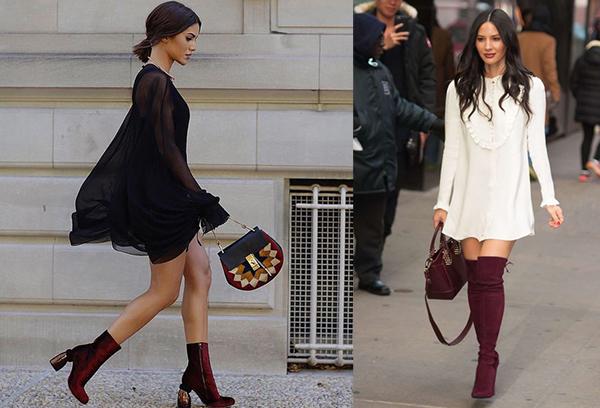 Бордовая обувь с черным и белым платьями