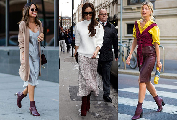 Идеи образов с бордовой женской обувью