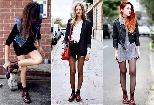 Девушки в бордовых ботинках