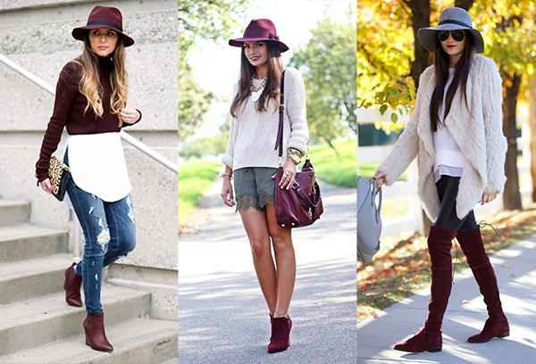 Девушки в шляпах и бордовой обуви
