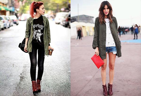 Женские образы с бордовыми ботинками и курточкой в стиле милитари