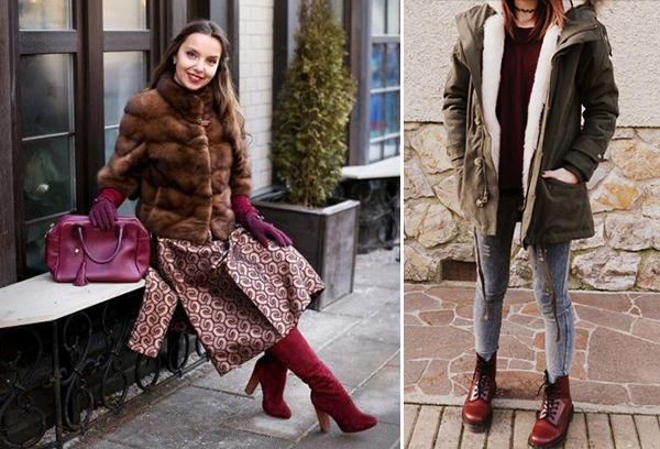 Интересные образы с бордовой обувью для женщин