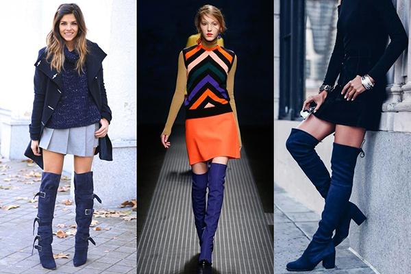 Модные образы с синими замшевыми ботфортами
