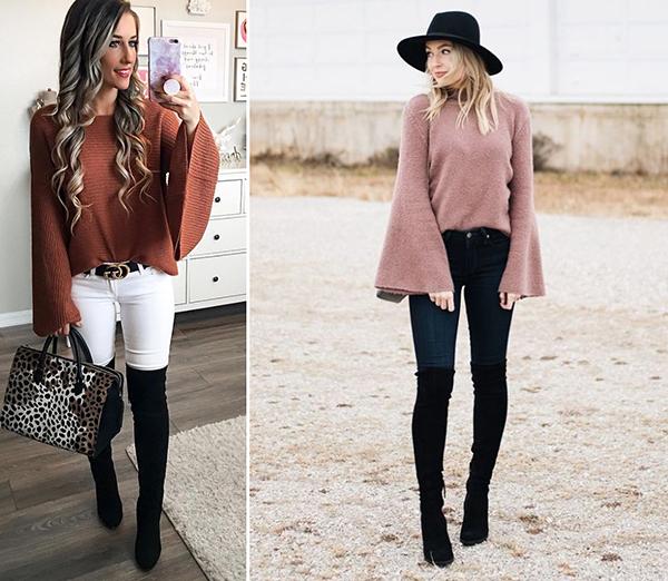 Девушки в черных замшевых ботфортах и свитерах