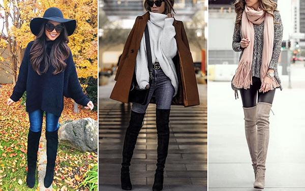 Образы с джинсами скинни и замшевыми высокими ботфортами