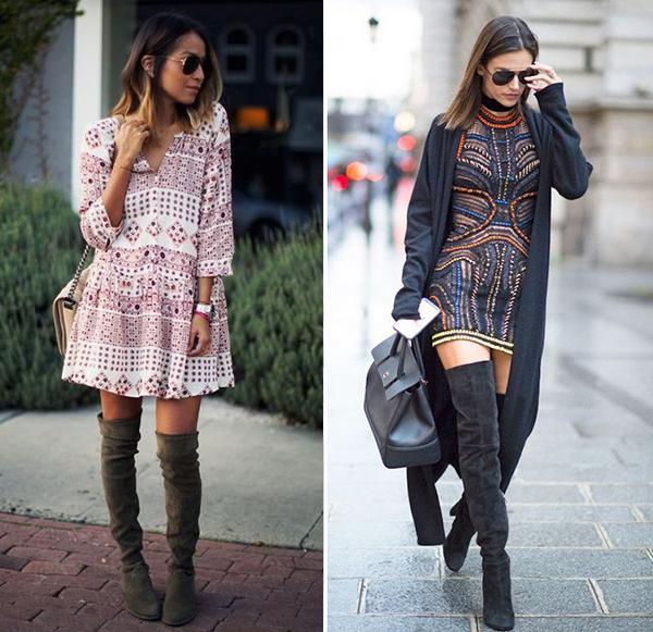Как носить замшевые ботфорты с платьем-рубашкой